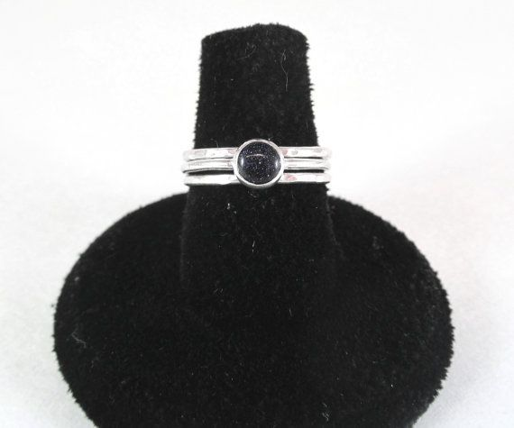 Blue Goldstone Stacking Ring Set by GemstonesEarthMetals on Etsy