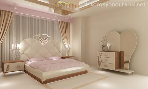 krem yatak odası mobilyaları