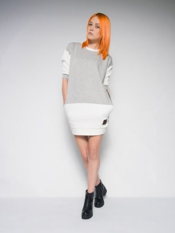 Creamy sweat dress Cotton sweat dress Streetstyle made with love Tailor - made polish streetstyle