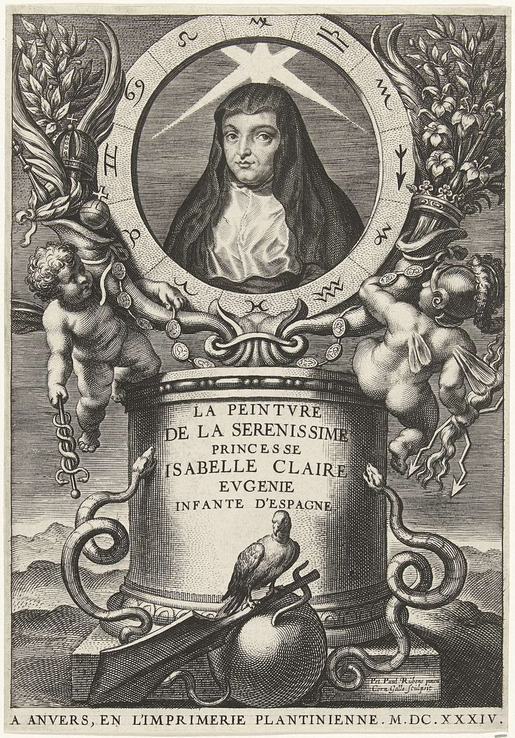 Portret van Isabella Clara Eugenia, infante van Spanje, Cornelis Galle (I), Officina Plantiniana, 1634