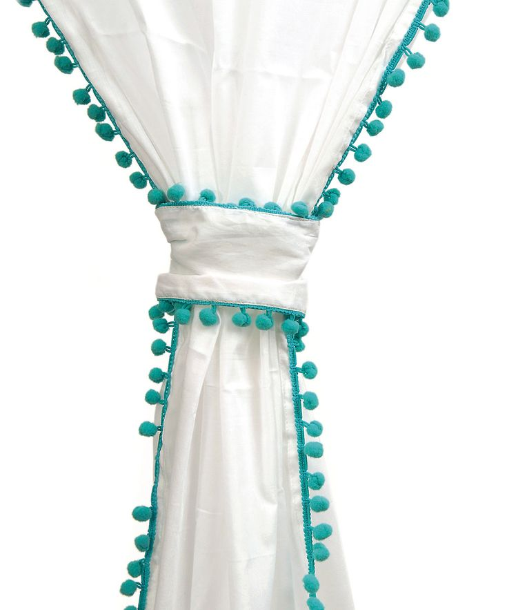Turquoise Trim Voile Pom Pom Curtain Make This For The
