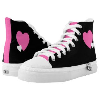 Hot pink heart & black High-Top Sneakers Hot pink & black High-Top Sneakers Step out of the box in a pair of unique custom sneakers! Each pair of custom High Top ZIPZ® shoes is designed so that any ZIPZ® top can be matched with a sole of the corresponding size, meaning you can change your style as often as you'd like to match any mood, occasion, or outfit. A fresh look at sneakers, ZIPZ® shoes give you a one-of-a-kind way to express yourself! #zazzle #Lynnrosedesigns