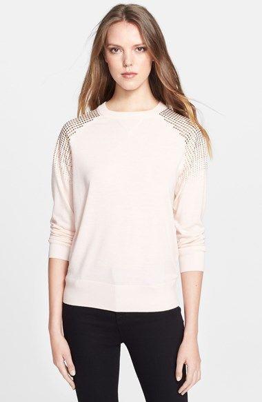 Ted Baker London 'Faira' Embellished Shoulder Merino Wool, Silk & Cashmere Sweatshirt available at #Nordstrom