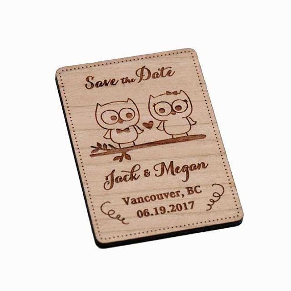 50+ Owl Love Save the Date Magnets - Wedding Favors - Gift Tags - Laser cut and Etched on Wood