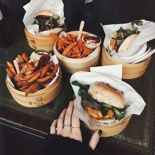 grafika food, fries, and burger