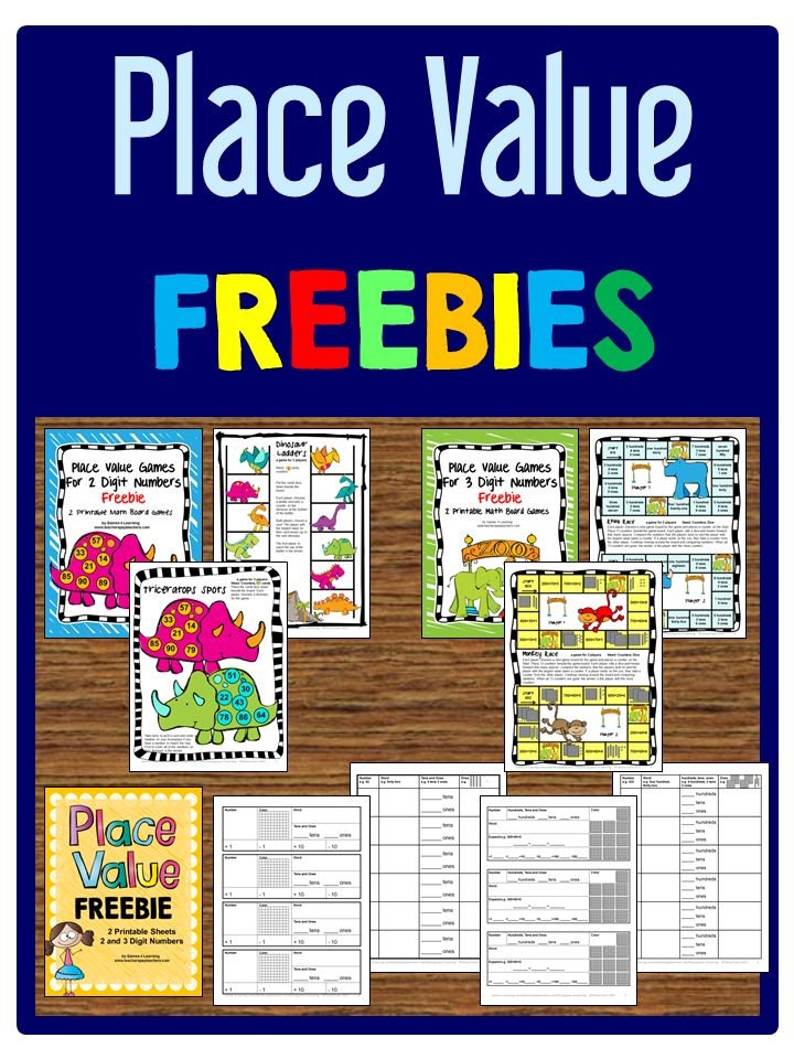 Place Value FREEBIES - Printable board games and worksheets for 2 and 3 digit numbers.