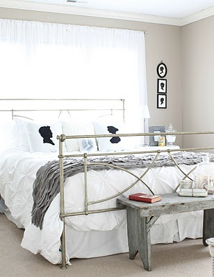 vintage white bedroom. I love the clean look of this.