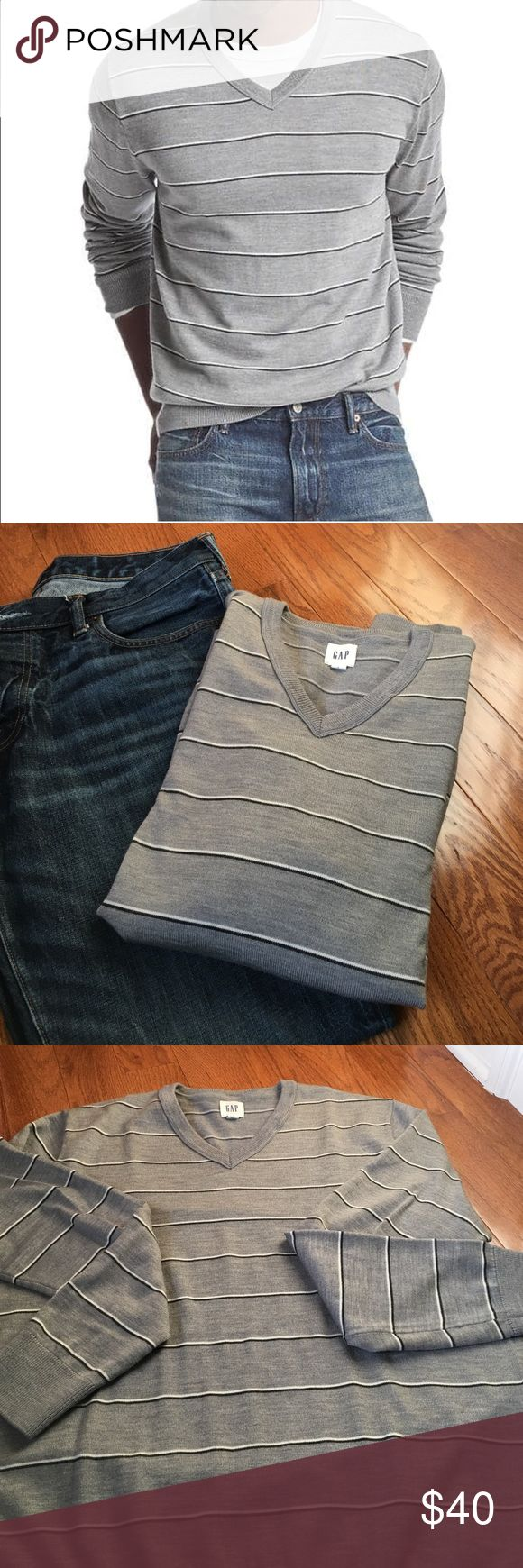 Men's Gap V neck long slv striped merino sweater Men's sized large V neck grey merino blend sweater with thin black and white stripe long sleeves.  This is a gap sweater from the current season.  Sells for 59.95.  New without tags GAP Sweaters V-Neck