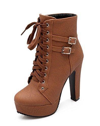 Oferta: 19.93€. Comprar Ofertas de Minetom Mujer Moda Otoño Invierno Puntera Redonda Estiletes Cremallera Lace-Up Tobillo Botas Color Sólido Zapatos de Tacon Ma barato. ¡Mira las ofertas!