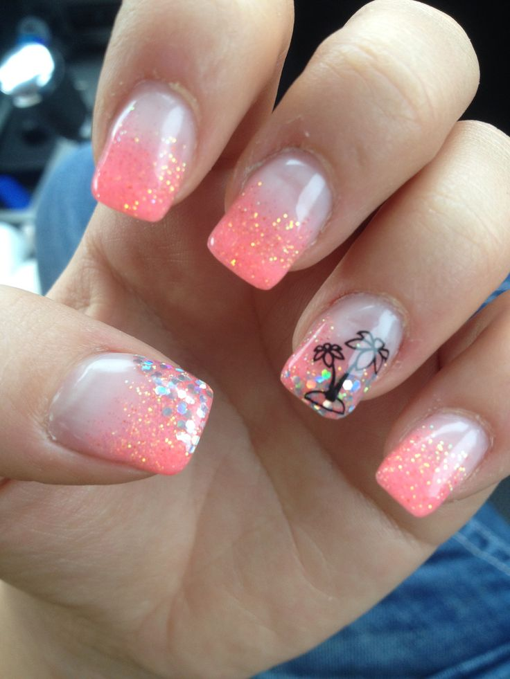 Pink Glitter Palm Tree Gel Nails Unique
