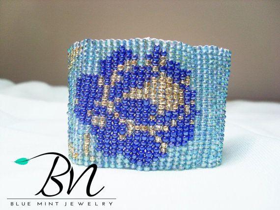 beaded flower bracelet2mm glass beadsCustom by LoretaBlueMint