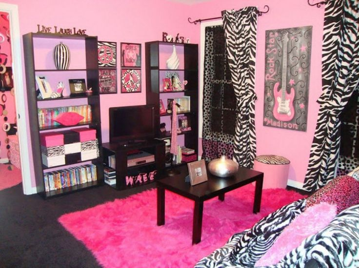 Girl Bedroom. Mesmerizing Endearing Girls Rooms Delightful Bedroom Design Ideas For Teenage Girl : Astounding Elegant Wall Shelves With Pink Fur Rug Featuring Curtain Zebra Motif All About Pink Theme For Teenage Girl Bedroom Ideas ~ wegli