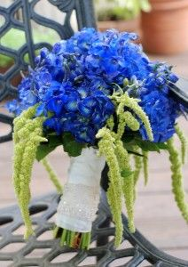 Blue and Green Wedding Bouquets.