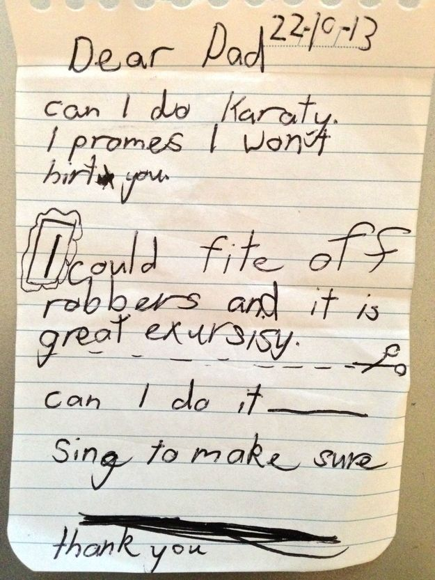 This kid evidently is going on to study law and specifically, torts and contracts...The 28 Funniest Notes Written By Kids In 2013