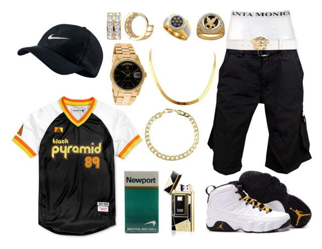 """""""Blaide 18"""" by itzyalocalwhiteboy on Polyvore featuring Black Pyramid, Rolex, Lord & Taylor, NIKE, men's fashion and menswear"""