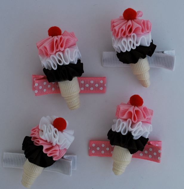 Ice Cream Cone Clippies-sweet treat clippies, ice cream cone, ribbon, sculpture, lollipop, hair bows, accessories, boutique, bowtique, hair bows, clips