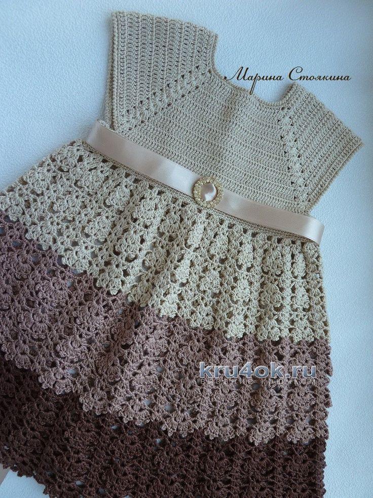 El casquillo y el vestido de verano para niñas - la obra de Marina Stoyakin tejido de punto y ganchillo esquema