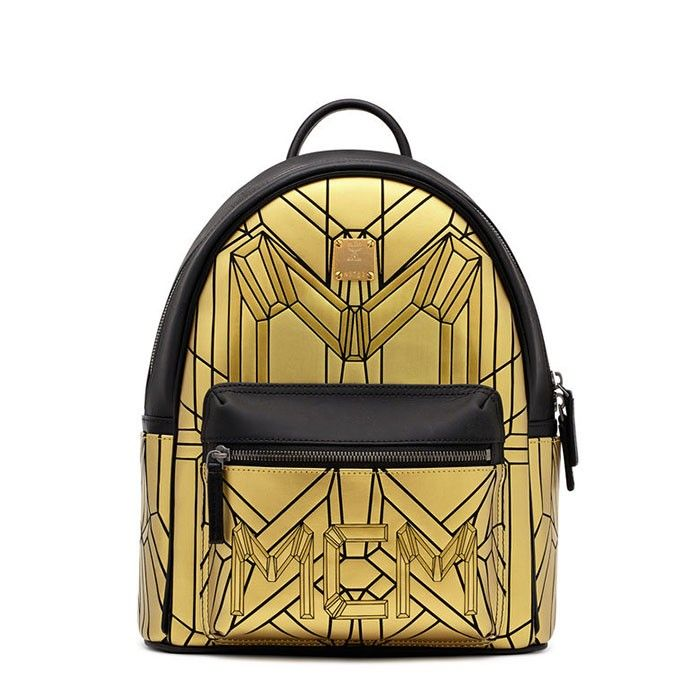 MCM Small Bionic Backpack In Gold