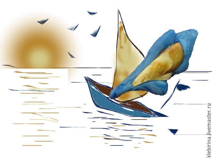 Купить Брошка с янтарем Морской стиль - голубой, море, морской стиль, морская тема, солнце