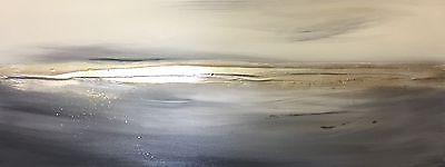 Contemporary Canvas Art. Original Seascape art. Silver & Grey canvas