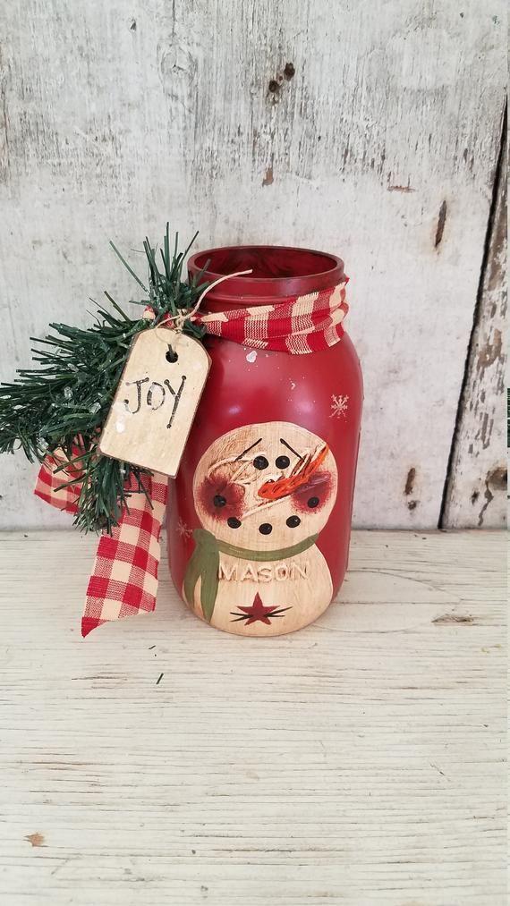 Primitive Snowman Canning Jar Frosty The Snowman Hand Painted Etsy Christmas Jars Christmas Mason Jars Mason Jar Decorations