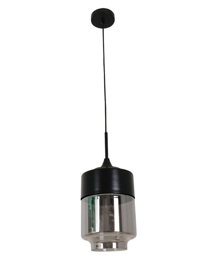 Beacon Lighting - Lunar 1 light large cylinder pendant in black with smoke glass