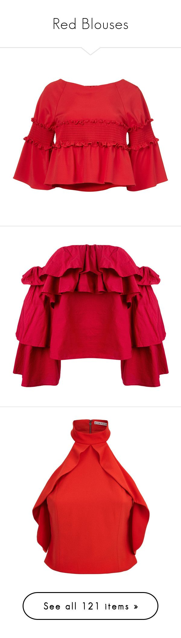 """Red Blouses"" by kikikoji ❤ liked on Polyvore featuring tops, red ruched top, stretchy crop top, tibi top, red peplum top, peplum tops, blouses, red, red top and off the shoulder tops"