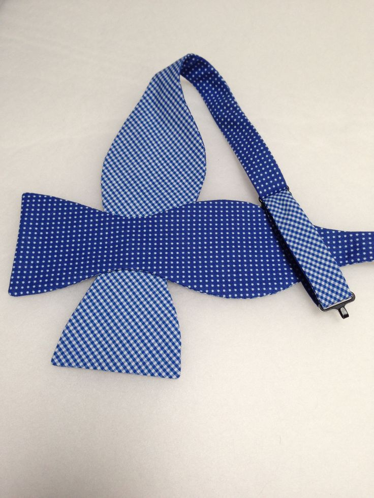 Double Sided, Blue & White Bow Tie, (Self-Tie)