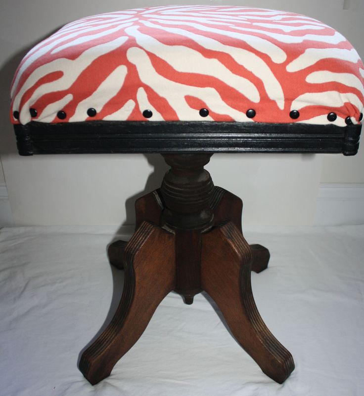Vintage Wood Swivel Stool Piano Bench Recovered Upcycled Chicago Orange & 112 best Beautiful Piano Benches images on Pinterest | Piano bench ... islam-shia.org