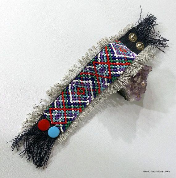 Peyote Dorado Mexican Beaded BraceletColorful beaded by NazoDesign, $13.50