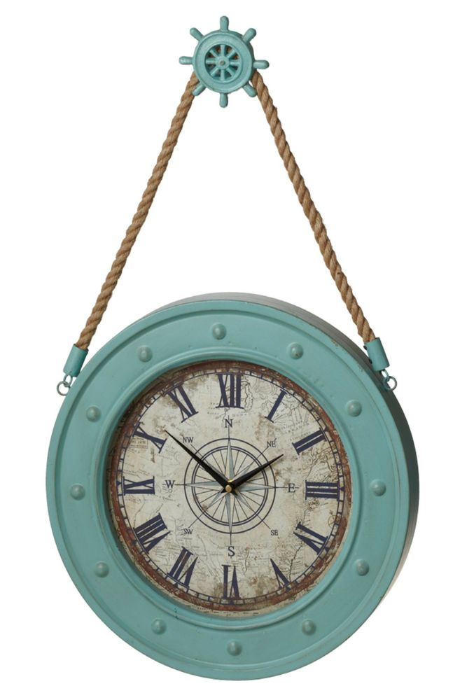 Aqua Compass Wall Clock With Ships Wheel Hook Battery Operated
