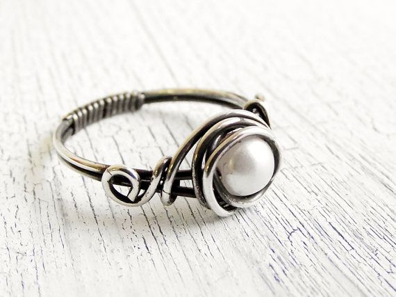 Antiqued Sterling Silver Pearl Ring Wire Wrapped Ring, Bridal Jewelry, Fresh Water Pearl on Etsy, $22.00