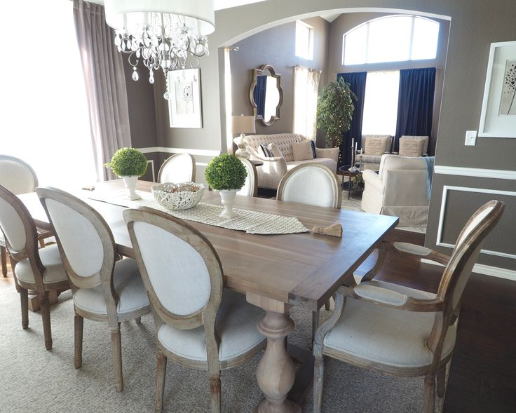 Glam dining room  Vintage dining room - rustic dining room - wainscoting - diy - velvet curtains - gray dining room - monochromatic dining room - restoration hardware monastery table - dining room chandelier
