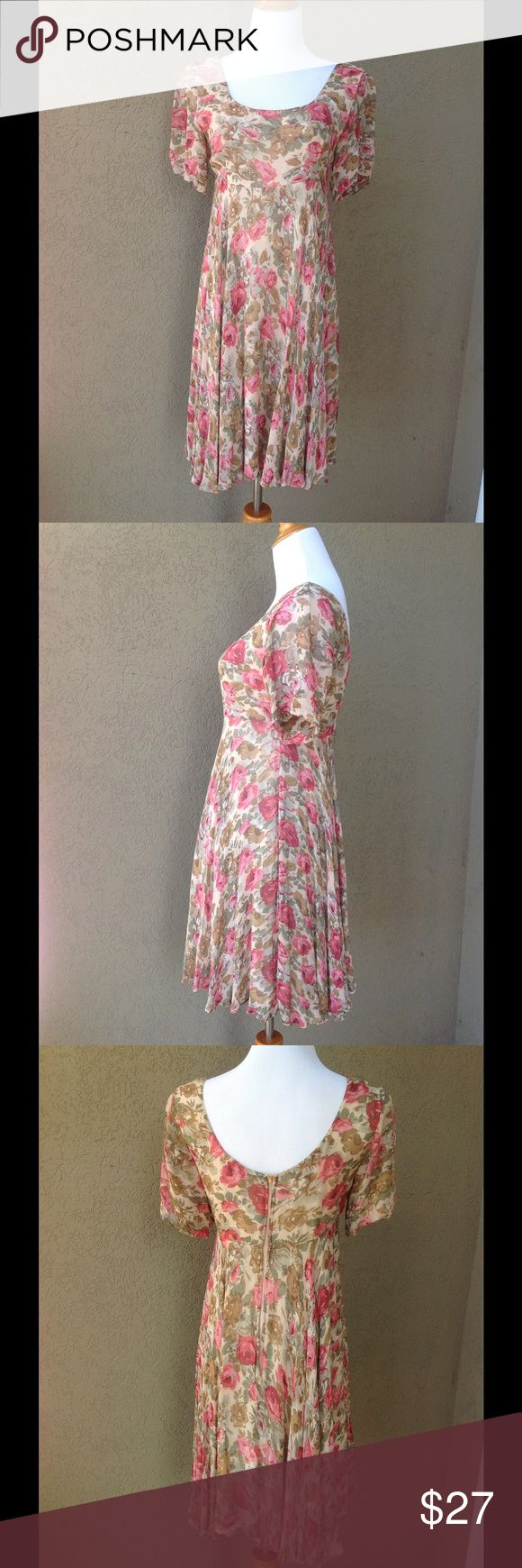 """JASMINE by KVM Vintage Floral Dress Tea stained tones, rose pinks and olive greens on a nude/dark cream background. Bodice and Skirt are lined in ecru/cream. Back zip that glides easily. One little snag on back of right sleeve as shown in photo. Beautiful condition with no holes or stains. Approx measurements laid flat: U-U 16.5-17"""" across, waist 14"""" at seam, length 37"""". Vintage Dresses"""
