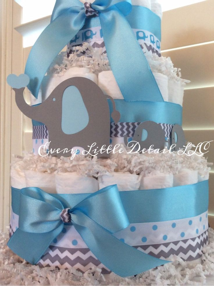 Elephant Theme Baby Shower Diaper Cake by Every Little Detail on Etsy