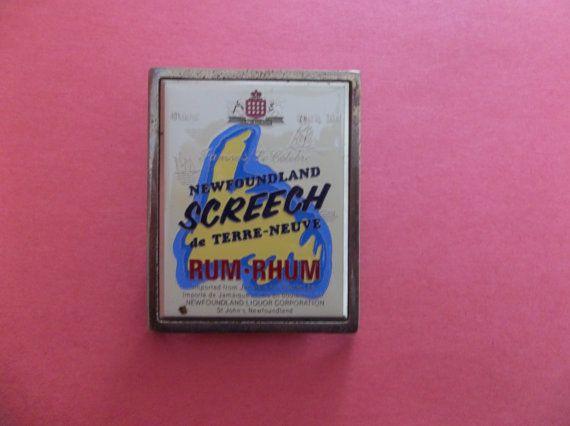 Vintage Screech Rum Brass Belt Buckle - Newfoundland Souvenir - liquor Collectible - Men's Belt Buckle
