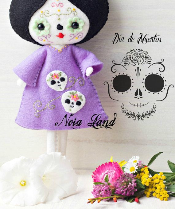 PDF pattern. Day of death doll. Mexican skull doll. por Noialand