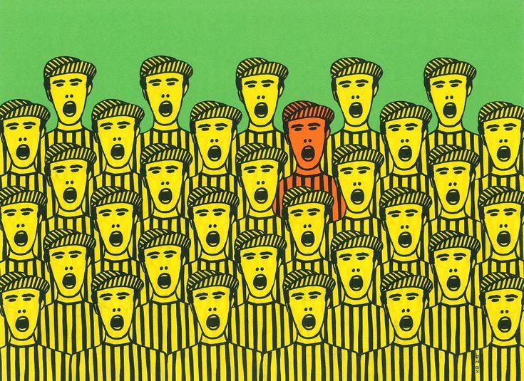 """""""Fans I (oder: Außenseiter)"""" Papiercollage von Klaus A. Becker, bedrucktes Farbpapier, 2015, 29,7 x 40 cm"""
