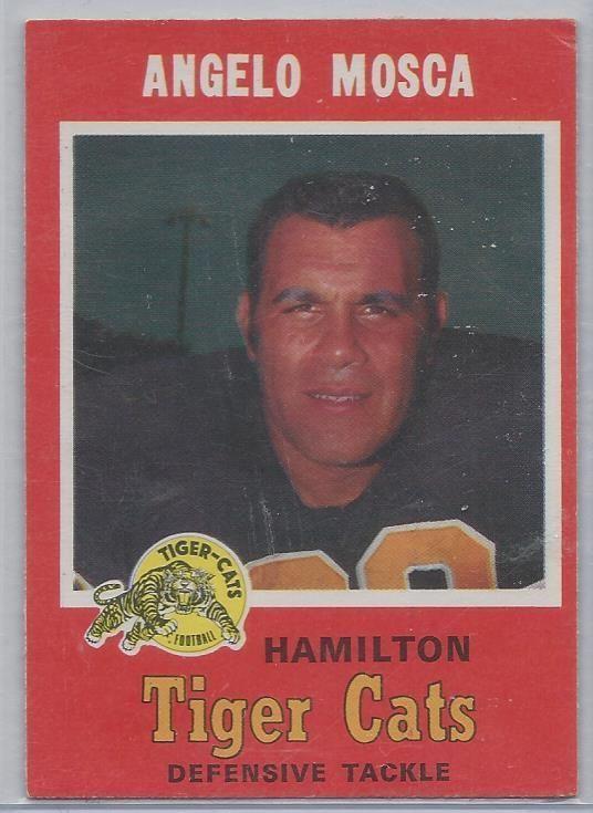 1971 OPC CFL Football HOF # 69 Hamilton Tiger-Cats Angelo Mosca EX #HamiltonTigerCats