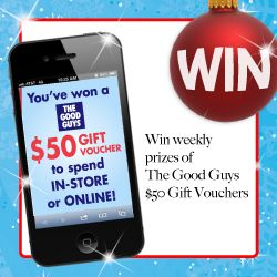 WIN 1 of 30 The Good Guys $50 Gift Cards!SHARE the news with all your friends - and don't forget, if you spend $50 or more at The Good Guys this Christmas you could WIN a trip to Disneyland California!