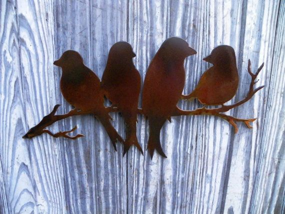 Plasma Cut Metal Art Sweet Birds on a Branch Garden Art Nursery