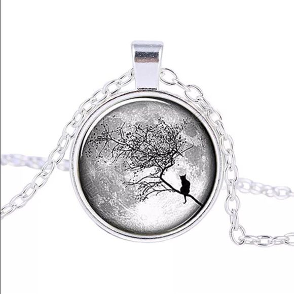 Silver plated necklace w/ retro look This graphic contains a really cool black and white image of a cat perched onto a tree looking into the distance Jewelry Necklaces