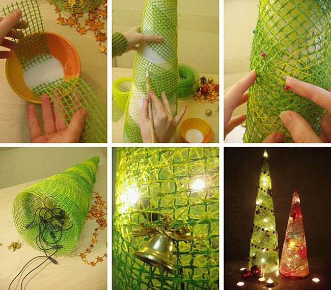 This cute lighted Christmas tree made with deco poly mesh and LED lights. It's inexpensive and really easy to create!  Check tutorial--> http://wonderfuldiy.com/wonderful-diy-cute-mesh-christmas-tree/