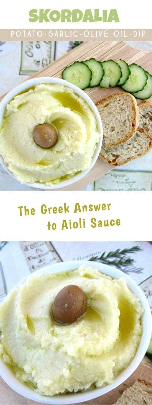 Greek Skordalia is a potato garlic dip that's made with olive oil and vinegar. Very similar to the Mediterranean Aioli sauce. Traditionally it's served either warm as a garnish to fried cod or cold as a bread dip along with some meze and ouzo. Veru simple to make and super healthy due to the raw garlic and olive oil. As for the flavor.....Truly appetizing! #dip #Mediterranean #Greekdiet #potatomash #easytomake