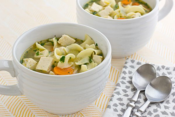 Vegetarian Chicken Noodle Soup: really yummy. each serving is a little more than 2 cups & approx 300 calories, depending on the stock/protein you use