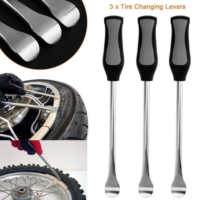 3pcs Set Motorcycle Bicycle Tire Changing Levers Spoon Tire Iron Kit Tire Changing Lever Tools Professional Tire Repair T Bike Repair Tire Repair Bicycle Tires