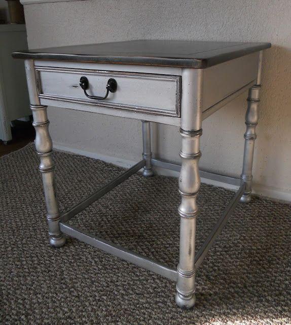 silver side table martha stewart silver paint