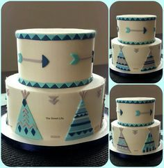 Navy, teal and gray teepee baby shower cake m.facebook.com/…