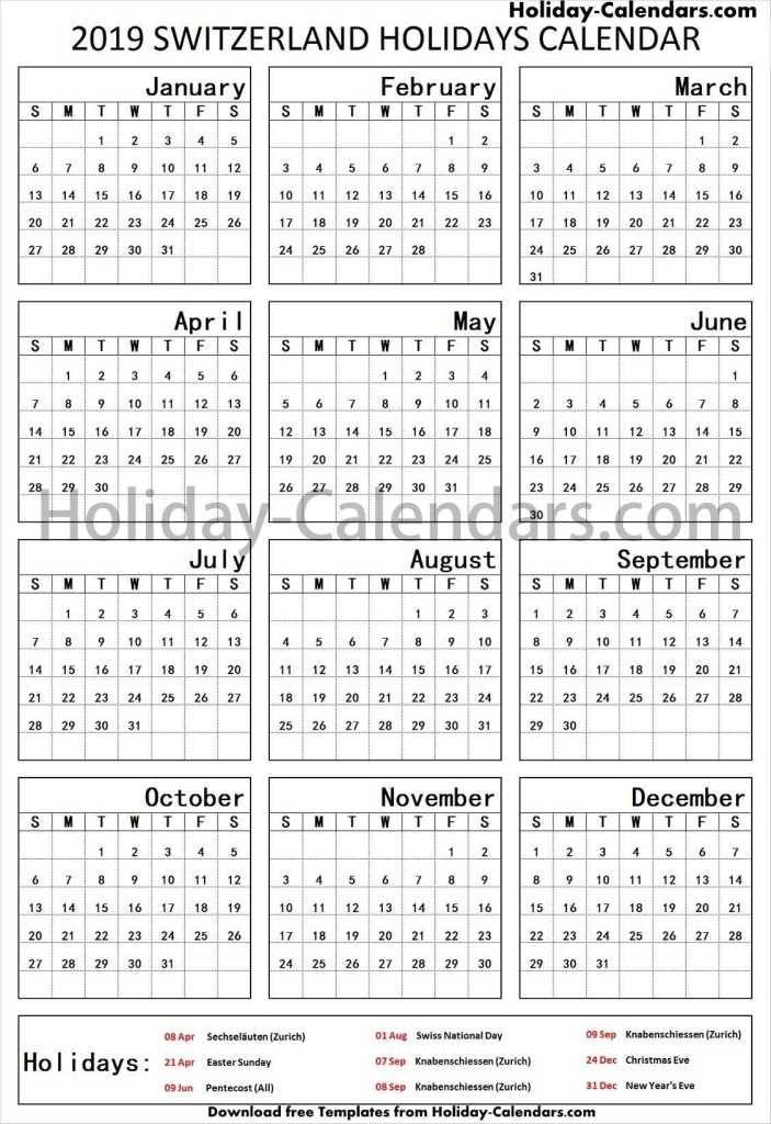 Switzerland School Holidays 2019 Templates Holiday Calendar