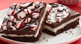 Peppermint Bars: An extravagant dessert of a fudgy brownie layered with peppermint filling and a rich chocolate glaze. You'll want to include this in a holiday dessert tray or package for a cookie exchange or gift basket.